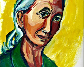 "Jane Goodall Painting, Giclee Art Print Portrait, 12"" x 9"" Women in Science, Women's History"