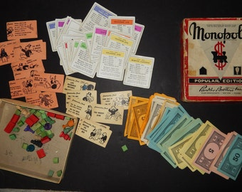 1950s Vintage MONOPOLY game-1950s Popular Edition/ wood green houses/ wooden red hotel/money/ parker bros collectors game