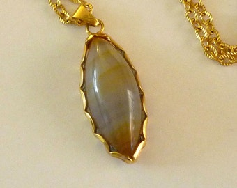 Vintage Blueish Grey Agate Pendant with Chain