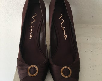 Brown Satin Pointed Toe with Rhinestone Accent Heel by Nina Size 8 1/2 M