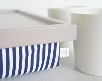 Breakfast Serving Lap Tray or Laptop Lap Desk, stand- pastel grey tray with navy and white striped pillow