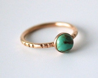 turquoise stack ring in 14k gold, american mined turquoise, december birthstone, notched band, boho minimal