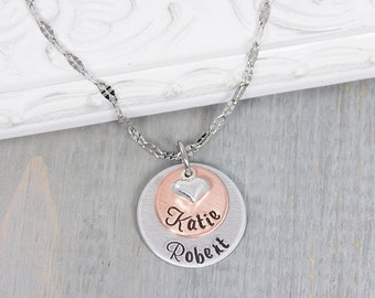 Personalized Necklace - Mommy Necklace - Layered Disc Necklace - Hand Stamped Jewelry - Personalized Name Jewelry