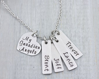 My Guardian Angels Necklace - Personalized Jewelry - Mom Necklace - Kids Name Necklace - Custom Jewelry for Mom - Mothers Jewelry