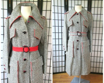 Vintage Mod Wool Coat 1960s 1970s Single Breasted Black White Red Tweed Trench Style 38 40 L XL Fitted Military Style Overcoat