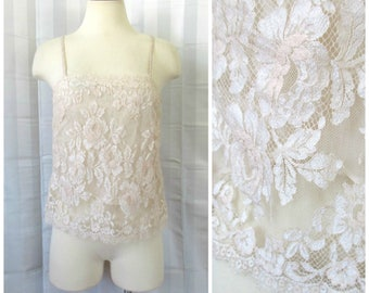 Vintage Lace Camisole Beige 34 Inch Bust by Aubade 1970s 1980s Made in France for Saks Fifth Avenue M Medium French