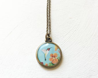 Hummingbird Necklace, Colorful Necklace, blue Unique Bird Jewelry, Hummingbird Gift with Infinity Symbol Grief and Mourning Healing Joy Bird