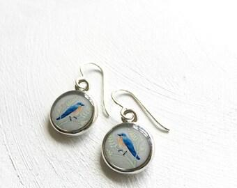 Bird Earrings, Silver Bluebird Earrings, Handcrafted Tiny Painting, Blue Bird Jewlery