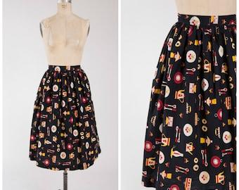 1950s Vintage Skirt • Dinner Dash • Black Red Yellow Cotton Print 50s Full Skirt Size Small