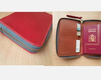 Red leather journal wallet /leather cover with zipper/ Moleskine leather cover / Gift for him/ Travel accessories