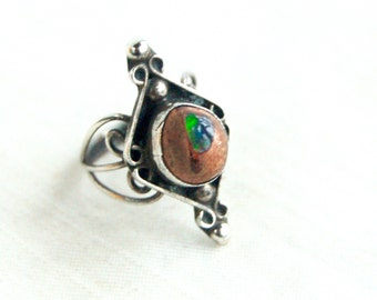 Mexican Fire Opal Ring  Size 4.75 Vintage Sterling Silver Filigree Boho Statement Ring Jewelry