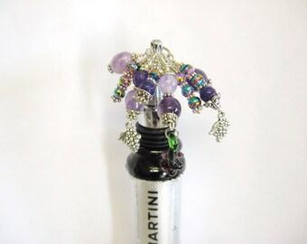 Bottle Stopper~Bottle Stopper, Decorative Wine Bottle Stopper, Grapes Bottle Stopper, Purple Bottle Stopper, Giftware, Barware, Housewarming