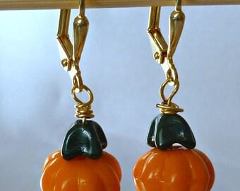 Delicate pumpkin earrings, seasonal earrings, halloween, fall theme