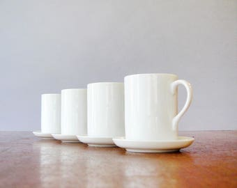 Four Mid Century Tackett for Schmid Porcelain Demitasse / Espresso Cups / Saucers