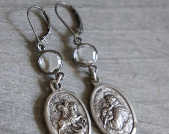 Assemblage earrings religious medal jewelry religious medal earrings St George St Anthony assemblage jewelry F527-by French Feather Designs.