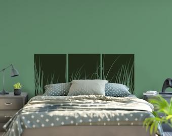 Vinyl Headboard - Grass Wall Decal - Vinyl Wall Decal - Bedroom Decor - Three Panel Wall Art - Vinyl Decal - Bedroom Decor - 6005