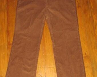 Mens Vintage 80s Brown Corduroy Pants, 1980s Farah Slacks, Made in USA, Size 40 / 31