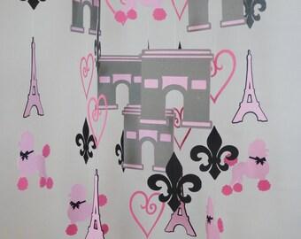Paris Baby Mobile with Eiffel Tower, Arc De Triomphe, Poodle, Fleur de Lis, Heart