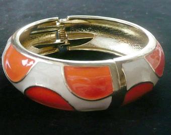 Orange & Cream Bangle Clamper Bracelet