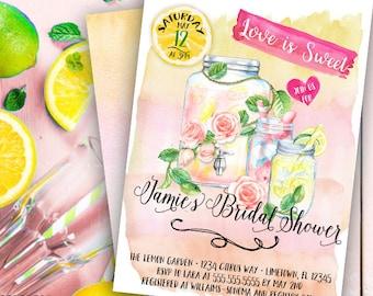 Lemonade invitation- lemon invitation- bridal shower invitation-summer invitation-spring invitation-wedding shower-watercolor -printable 5x7