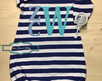Personalized Baby Gown, Blue and White Striped Gown, Newborn Gown, Infant Gown, Going Home Outfit, Baby Shower Gift, Monogrammed Baby Gown