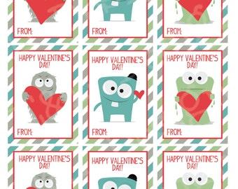 Monster Valentine's Day Cards (set of 9) , Valentine's Day Cards, Printable,Instant Download, Digital