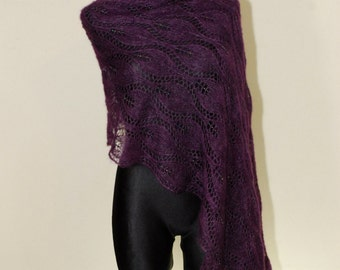 Purple hand knit lace shawl with glass beads, Plum luxury evening stole, Beaded Lace Shawl, Mohair Knit Shawl, Evening Shawl