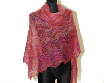 Mohair Shawl, Hand Knit Shawl, Lace Shawl, Wedding Shawl, Winter Shawl, Shawl in Pink, Bubble Gum, Triangle Lace Shawl, Triangle Knit Shawl,