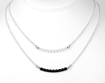 Swarovski Pearl Bar Necklace Layering Necklace in Black or White Pearls