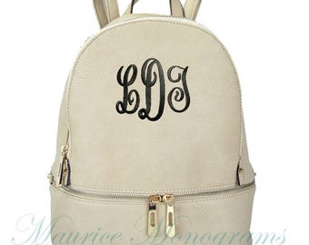 Personalized Ivory Soft Textured Synthetic Leather Backpack Purse FREE Monogram