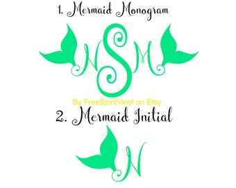 Mermaid Monograms and Initials (bachelorette party stickers)