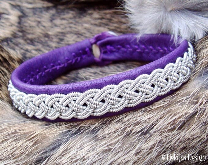 Unisex Leather Lapland Bracelet ASGARD Handcrafted Sami Viking Cuff Bangle in Purple Reindeer with Tin thread Braid and Antler closure