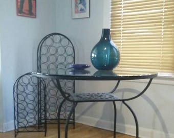 "Arthur Umanoff Mayan Collection 42"" Round Brutalist Sun Wrought Iron Table - Local Pickup Only"