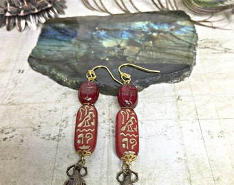 Scarab Earrings - Egyptian Jewelry, Beetle Earrings, Hieroglyphics, Ancient Egypt, Kyphi, Protection Amulets, Sacred Scarabs, Spiritual, Ra
