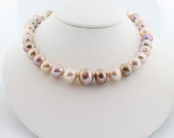 Kasumi pearl necklace, hand knotted, multicolor, nucleated, huge, Edison, ripple pearls, freshwater, handcrafted clasp: Simply Adorned