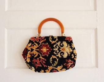 Vintage 60's Floral Tapestry Handbag, Top Handle Bag / ITEM482
