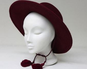 The Acoolo Hat - Riding Hat - Wide Brimmed Gaucho Hat - Cranberry Fur Felt Flamenco Hat - Spring Accessories