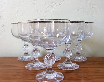 Vintage Crystal Silver Rim Champagne Glasses Set of 6 Faceted Ball Stem, Platinum Rim Stemware, Champagne Saucers Coupes Mid Century Barware