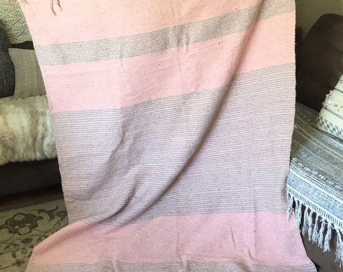 Vintage Soft Pink and Gray Woven Wool Acapulco Mexico Throw Blanket