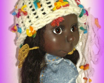 "Handmade Hat to fit Connie Lowe 16"" BJD Lizzie, Marta Doll, ""Fleurs d'Ivoire"" Hand Knit Hat in Acrylic and Wool by traveller240"