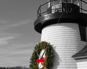 Christmas Lighthouse, Holiday Photography, Mystic Seaport, Fine Art Print