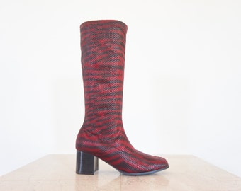 90s Red & Black Zebra Print Stocking Boot / Women's Size 8.5 US - 39 Eur - 6.5 UK