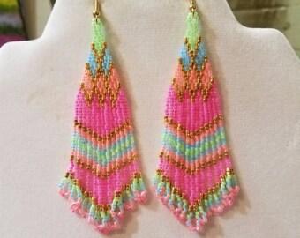 Native American Style Cotton Candy Beaded Earrings  Southwestern, Bohemian, Brick Stitch, Peyote, Gypsy, Hippie, Great Gift
