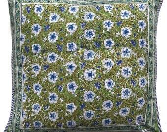 """Cotton Pillow cover - Green Flower Garden -18"""" x 18"""""""
