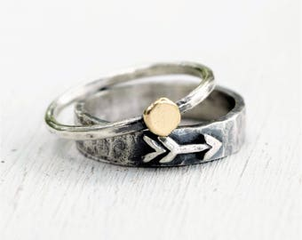 Sterling Silver Arrow Band and Solid 14K Gold Dot Ring Set - Rustic Boho Ring Set - Mixed Metal - Alternative Recycled Ethical