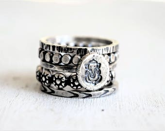 Sterling Silver Boho Ring Stack - Ganesh and Daisies RIng Stack - Flattened Ball Bead Ring - Hand Stamped Metalwork - Gift For Her