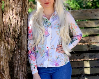 1970s polyester retro floral print blouse. Size S/M 4/6