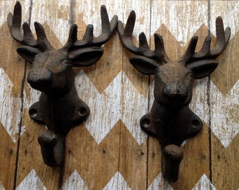 Set of 2 Cast Iron Deer Head Wall Hooks Stag Elk Coat Hooks Hangers Racks  Hunting Lodge, Cabin , Man Cave, Decor, Gift for Hunters 8 Point