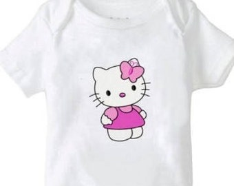 Girls Applique top...Kitty...0-24 months Onsie and 2T to 6 Girls shirt