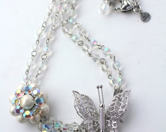 Butterfly Necklace, Crystal Necklace, Recycled Necklace, Upcycled Jewelry, Spring Necklace, Statement Necklace, Assemblage Art, Repurposed